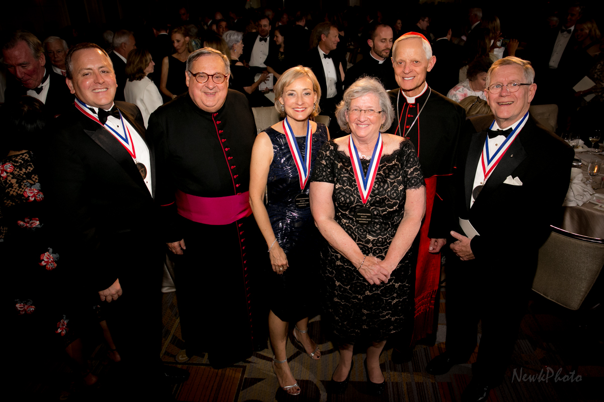 Gathered at the 2017 Annual Dinner are Jeffrey Mancabelli (honoree), Msgr. Peter J. Vaghi (JCS Chaplain), Catherine Ronan Karrels (honoree), Kathleen Ryan Prebble (honoree), His Eminence, Donald Cardinal Wuerl (Archbishop of Washington), and Daniel Kerns (honoree).