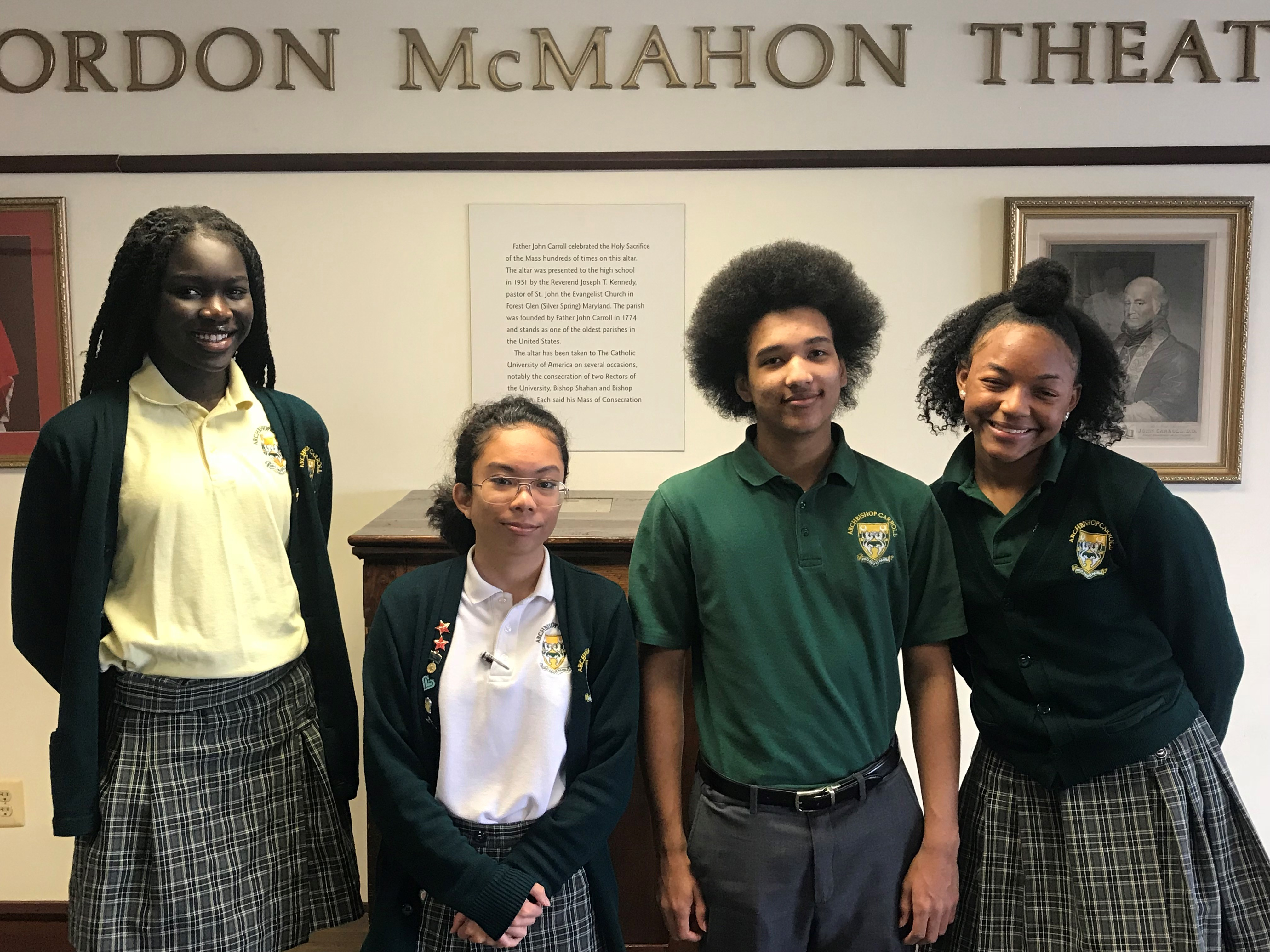The Vaghi Scholarship winners at Archbishop Carroll High School are (from left to right): Maria Gakdeng (Class of 2021), Paula Valenzuela (Class of 2020), Avery Middleton (Class of 2020), and Tiffani Rae Pittman (Class of 2021). Not pictured: Greta Terry (Class of 2018).