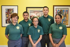 The Vaghi Scholarship winners at Archbishop Carroll High School are (from left to right): Genesis Gamez-Chavez (junior), Jason Reyes (sophomore), Paula Valenzuela (freshman), Eduardo Bernal (senior), and Greta Terry (junior).